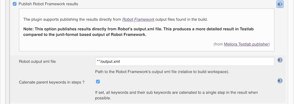 Robot Framework output support